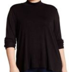New Bobeau Black Tunic Top Long Sleeve Plus Sz 1X